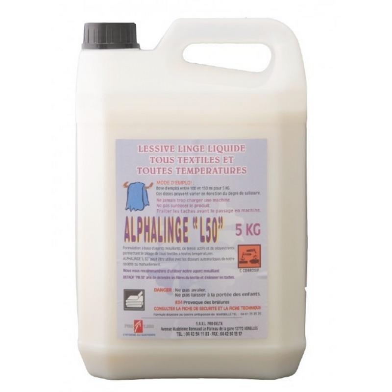 Produits d'entretien Lessive liquide Alphalinge L50 - Tous textiles - Bidon de 5 litres