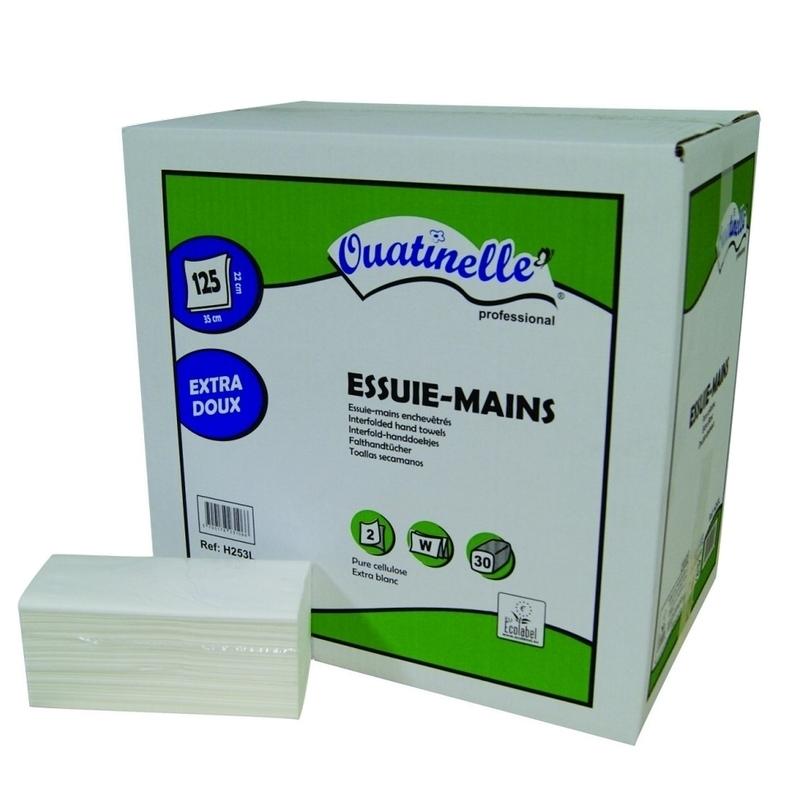 Essuie-mains & Essuie-tout Essuie mains pliés en W - 2 plis lisses - Carton de 3750 feuilles - Ouatinelle H253L