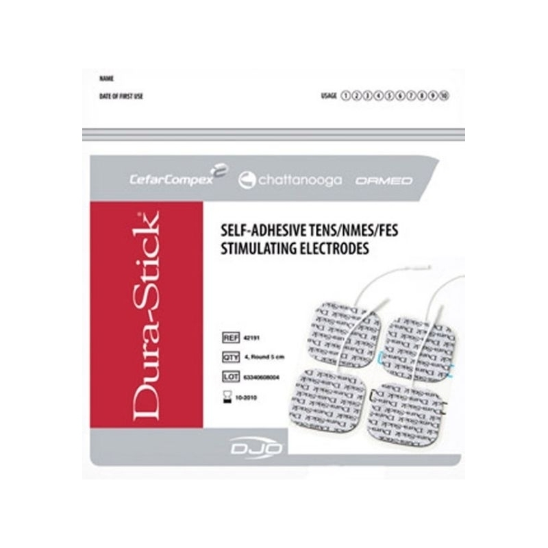 Électrodes carrées à fil 50 x 50 mm - Dura Stick Carbone & Gel - Cefar Compex - Paquet de 4 - Référence 42190