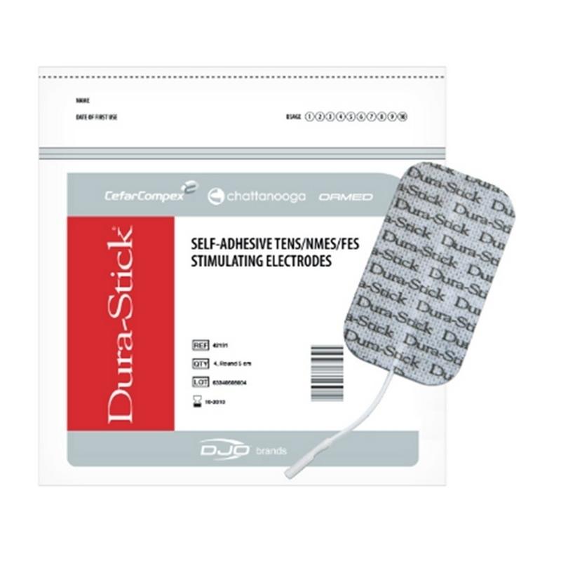 Electrodes Électrodes rectangles à fil 50 x 90 mm - Dura Stick Carbone & Gel - Cefar Compex - Paquet de 4 - Référence 42191