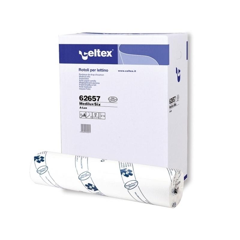 Draps d'examen formats spéciaux Draps d'examen gaufré collé - 132 formats 60 x 38 - Celtex 62657 - Carton de 9 rouleaux