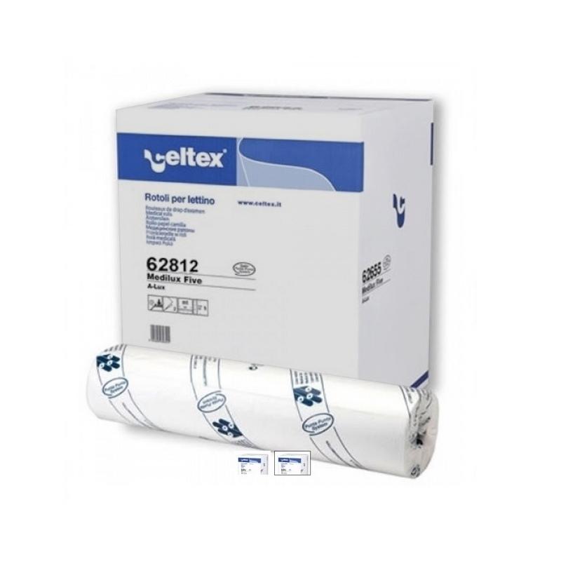 Draps d'examen luxe Celtex 62812 - Gaufré collé - 120 formats 38 x 50 - Carton de 9 Rouleaux
