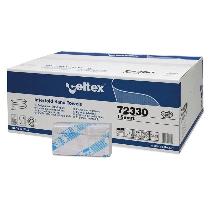 Essuie mains enchevêtrés Z - 2 plis gaufré blanc - Carton de 3200 feuilles - Celtex 72330