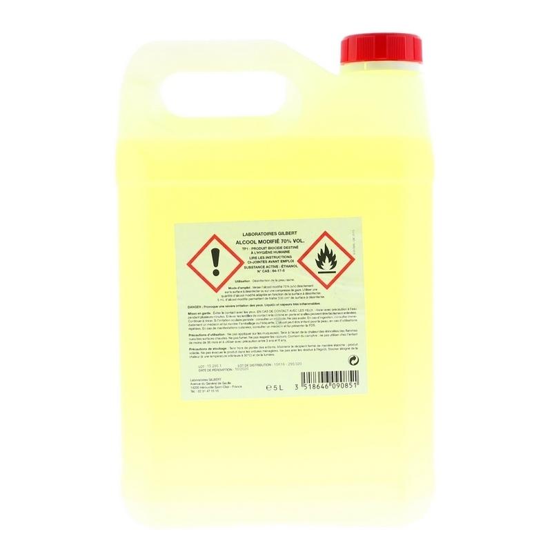 Alcool & Chlorhéxidine  Alcool modifié 70% Gilbert - Bidon de 5 litres