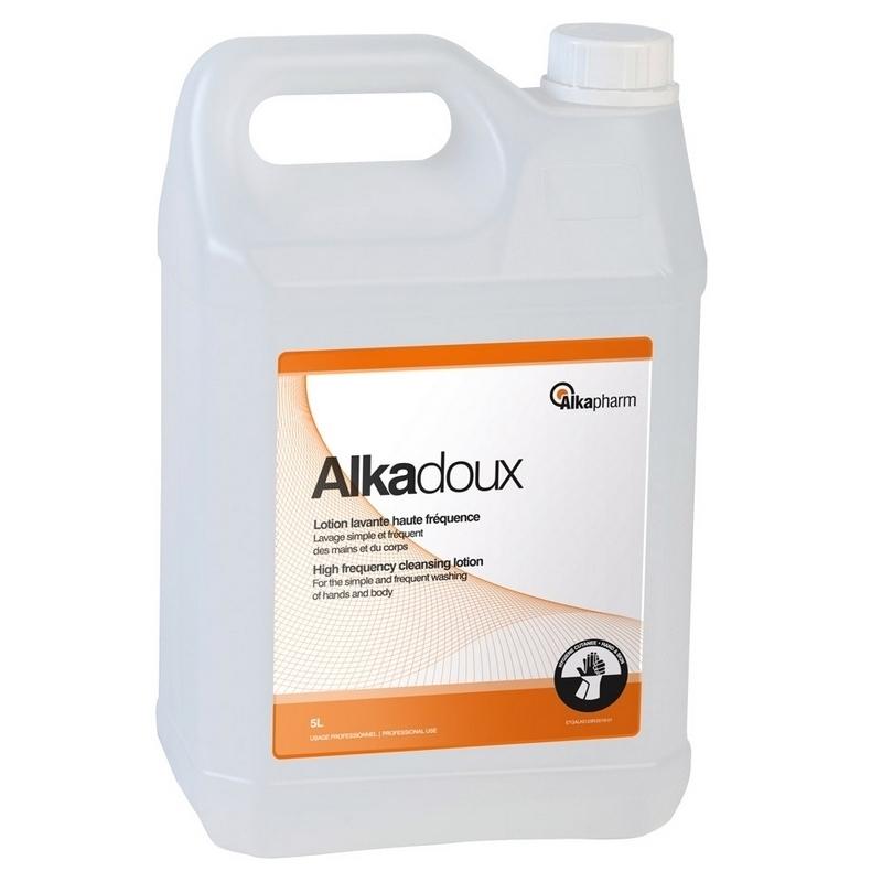 Savon mains Alkadoux - Lotion lavante glycérinée vitaminée - Haute fréquence - Bidon de 5 litres