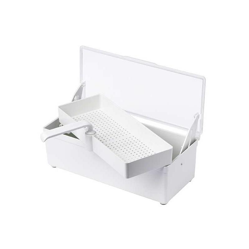 Bacs stérilisation Bac de trempage 1 litre - Avec couvercle et panier perforé - 25 x 11 x 8 cm
