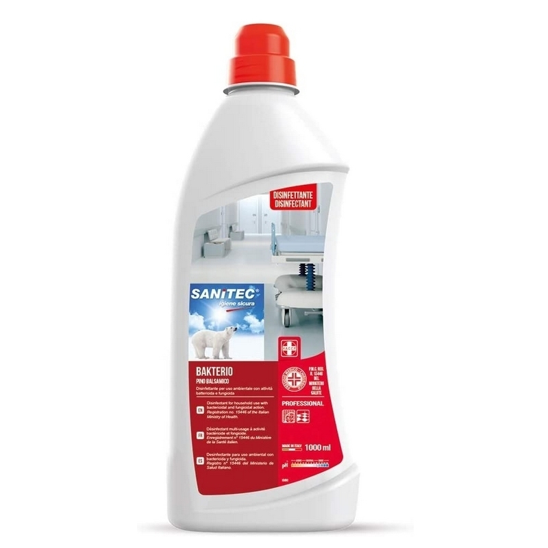 Désinfection du matériel Bakterio Pin Balsamique - Désinfectant multi usage - Bidon de 1 litre