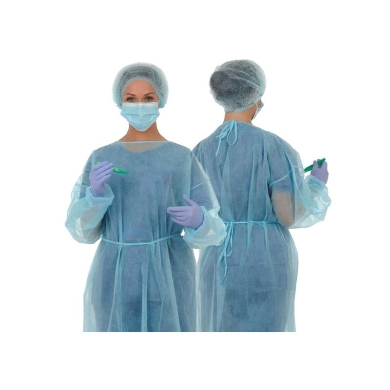 Blouse de protection bleue - Non tissé - Sachet de 10