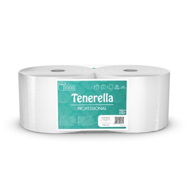Essuie-mains & Essuie-tout Bobines industrielles - 1000 feuilles gaufrées - Tenerella Professional - Ballot de 2 rouleaux