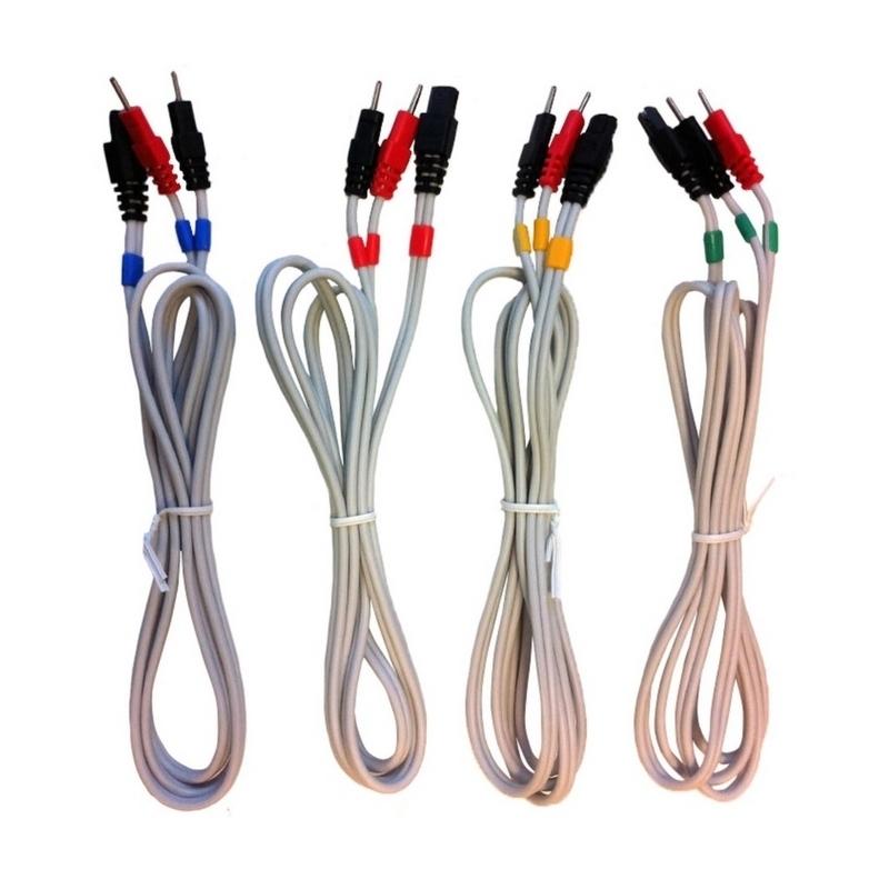 Batteries & Câbles  Jeu de 4 câbles 6P/Pin à fil - Pour électrodes Cefar Compex - Référence 601132L