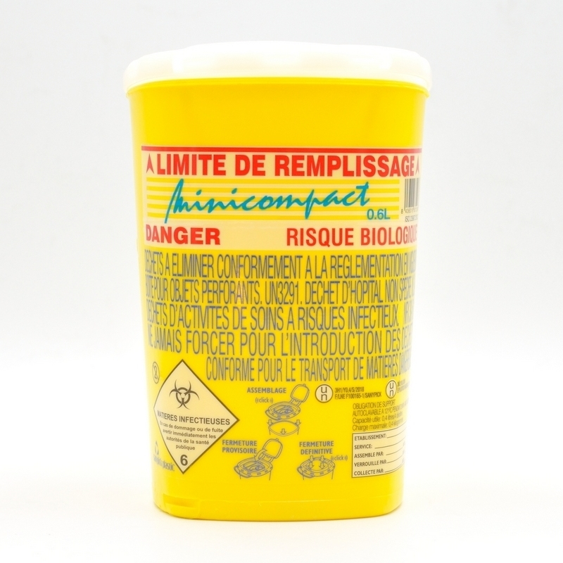 Collecte des déchets Collecteur d'aiguilles & déchets infectieux - Minicompact - 0,6 litre