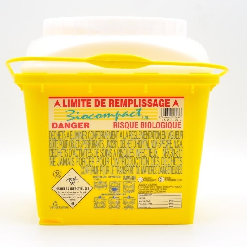 Collecte des déchets Collecteur d'aiguilles & déchets infectieux - Biocompact - 1,8 litre