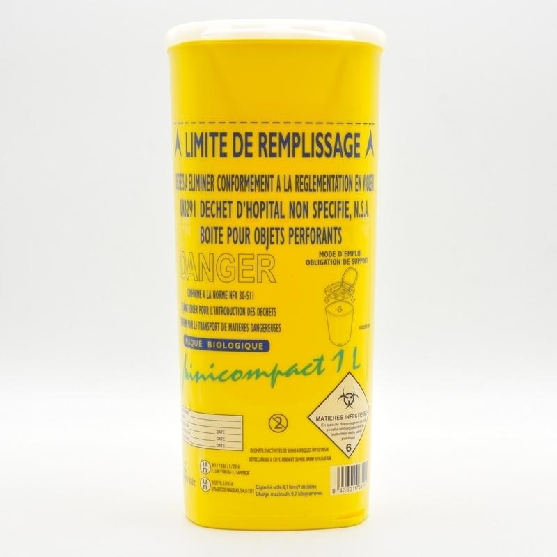 Collecte des déchets Collecteur d'aiguilles & déchets infectieux - Minicompact - 1 litre