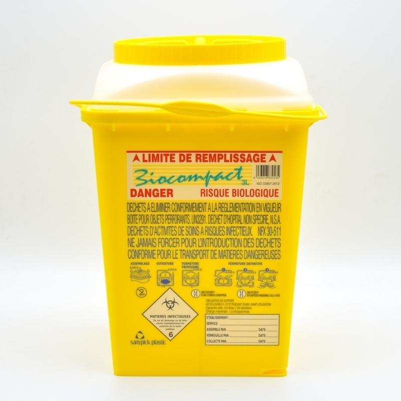 Collecte des déchets Collecteur d'aiguilles & déchets infectieux - Biocompact - 3 litres