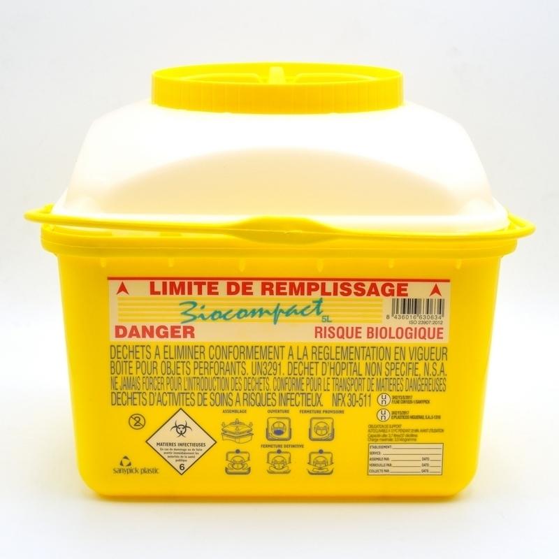 Collecte des déchets Collecteur d'aiguilles & déchets infectieux - Biocompact - 5 litres