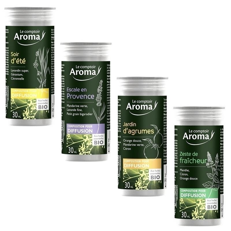 Traitement air et odeur Compositions pour diffusion - Huiles essentielles Bio - Le Comptoir Aroma - Flacon de 30 ml