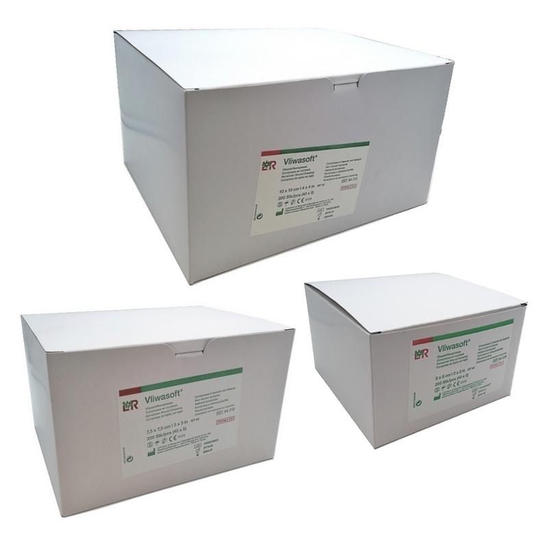 Compresses Compresses stériles non tissés Vliwasoft - Différentes tailles - Emballés par 5 -Boite de 200