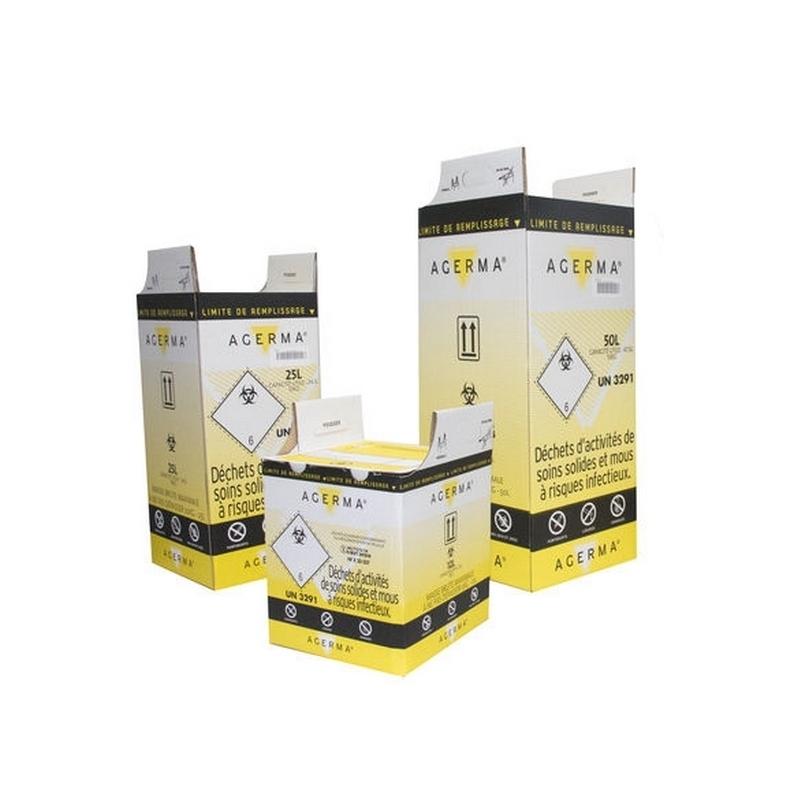 Collecte des déchets Conteneur à déchets risques infectieux - Lot de 10 cartons - 25 ou 50 litres