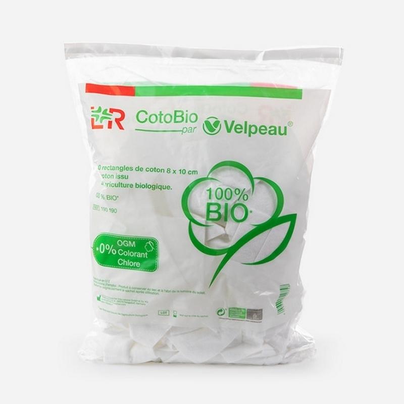 Coton  Coton CotoBio Velpeau - Issu de l'agriculture biologique - 8 x 10 cm - Sachet de 180