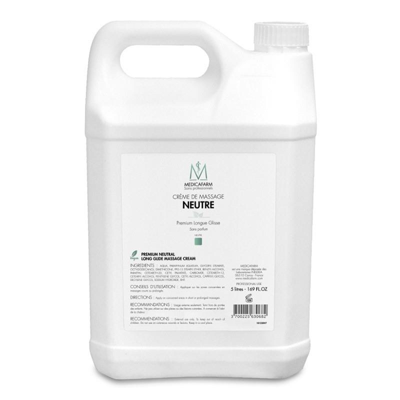 Crèmes & Huiles Crème de massage neutre - Premium Longue Glisse - Medicafarm - Bidon de 5 litres