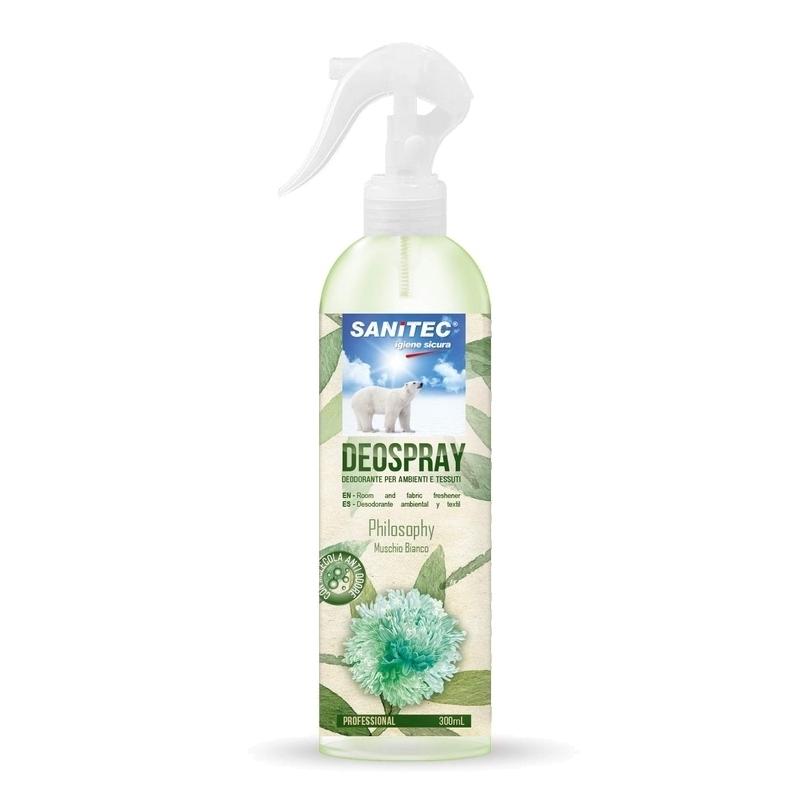 Traitement air et odeur Deospray Philosophy Musc Blanc - Désodorisant ambiance & textile - Spray de 300 ml