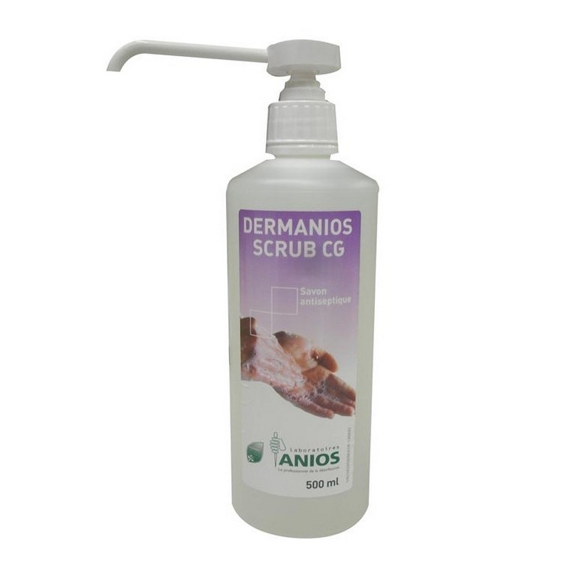 Savon mains Dermanios Scrub CG Anios - Savon antiseptique mains - Flacon de 500 ml