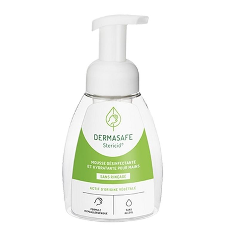 Gels hydroalcooliques  Dermasafe Stericid - Mousse désinfectante mains - Actifs d'origine végétale - Flacon 250 ml