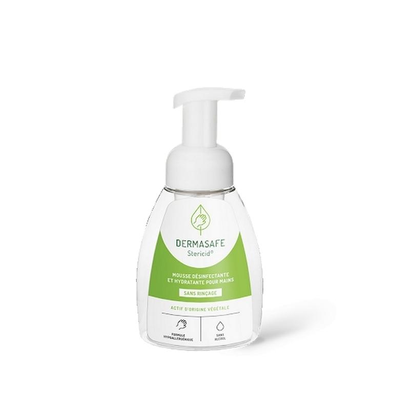Savon mains Mousse désinfectante mains Dermasafe - Sans alcool - Sans rinçage - Flacon de 250 ml