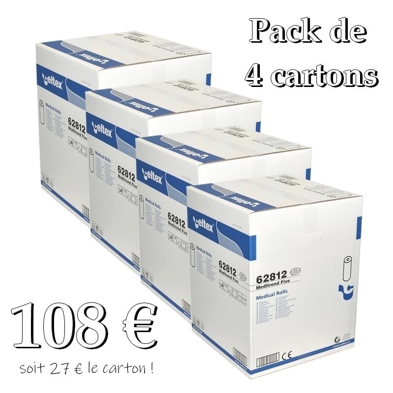 Draps d'examen en pack éco Draps d'examen luxe Celtex 62812 - Gaufré collé - 120 formats 38 x 50 - Pack de 4 cartons de 9 rouleaux