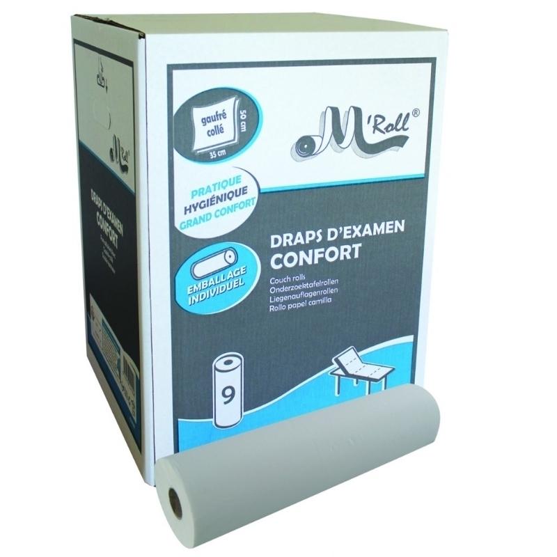 Draps d'examen classiques Draps d'examen Confort gaufré collé  - 121 formats 35 x 50 cm - Global Hygiène J222 - Carton de 9 rouleaux