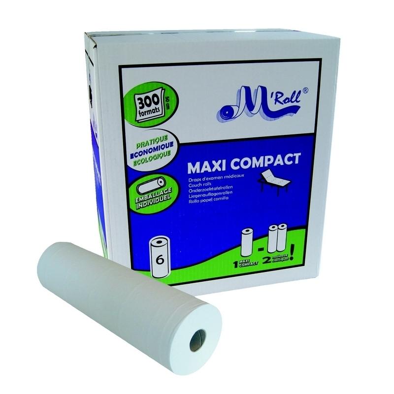 Draps d'examen classiques Draps d'examen lisses Maxi Compact - 300 formats 35 x 50 - Global Hygiène J309 - Carton de 6 rouleaux