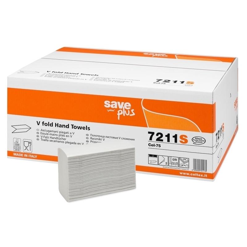 Essuie-mains & Essuie-tout Essuie mains pliés en V - 2 plis gaufrés - Carton de 3150 feuilles - Celtex Save Plus 7211S