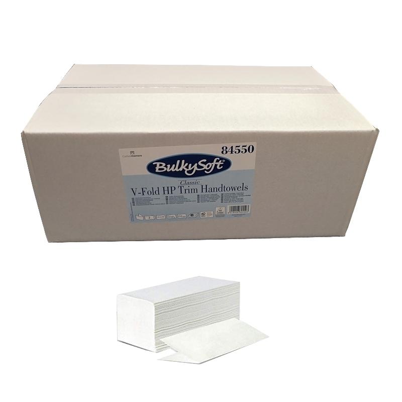 Essuie-mains & Essuie-tout Essuie mains enchevêtrés en V - 2 plis gaufré blanc - Carton de 3150 feuilles -BulkySoft 84550