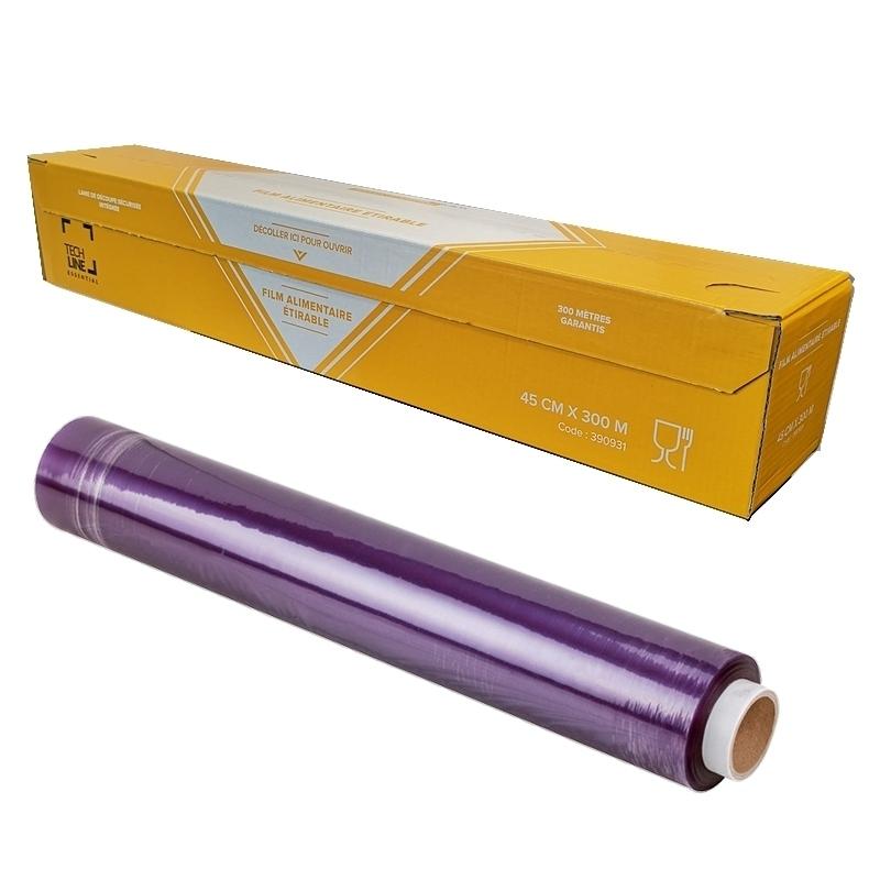 Film transparent ou film aluminium Film étirable transparent - Avec ou sans boite distributrice - 45 cm x 300 m - Unitaire