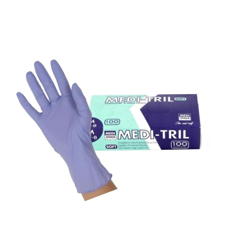 Gants d'examen en nitrile Gants nitrile violet sans poudre - Medi Tril Medistock - Toutes tailles - Boite de 100