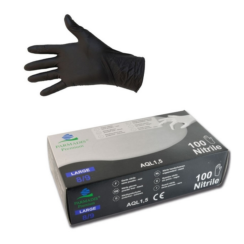 Gants d'examen en nitrile Gants nitrile noir sans poudre - Parmadis Premium - Taille S / M / L / XL - Boite de 100