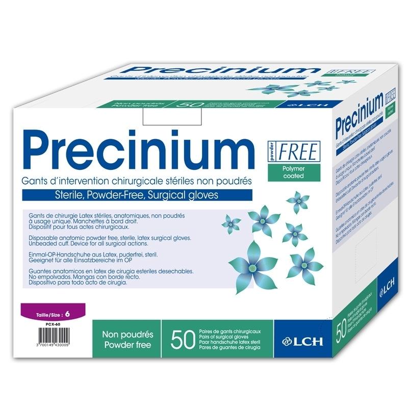 Gants d'examen stériles Gants stériles latex sans poudre - Precinium LCH - Boite de 50 paires