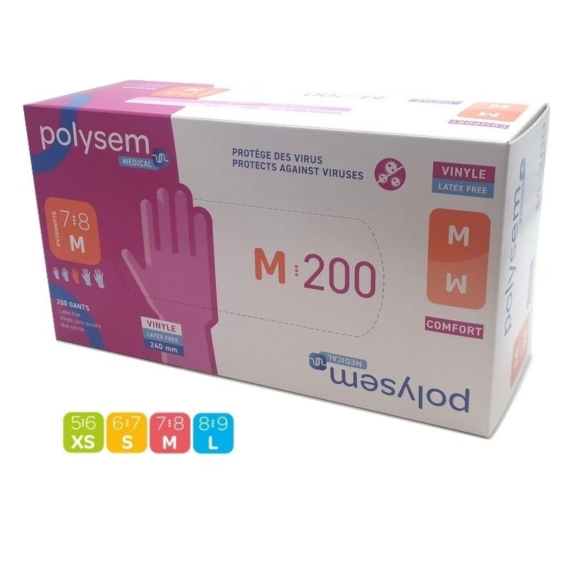 Gants vinyle sans poudre - Polysem Médical - Boite de 200