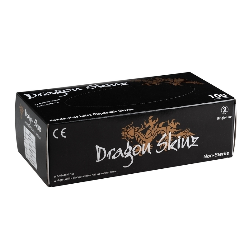 Gants latex noir sans poudre - Dragon Skinz - Boite de 100