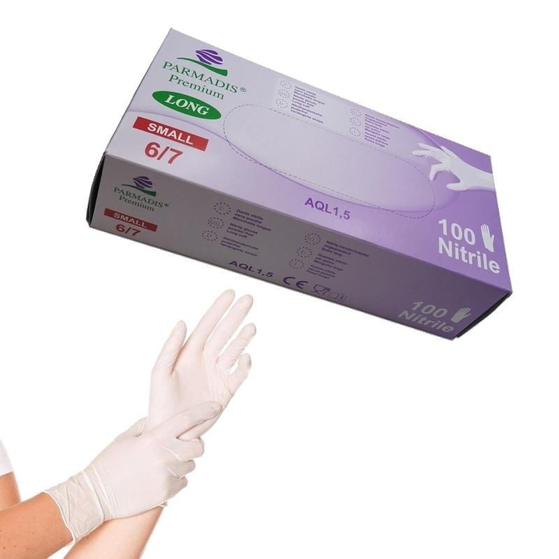 Gants d'examen en nitrile Gants nitrile blanc Parmadis - Manchette longue sans poudre - Taille S - Boite de 100