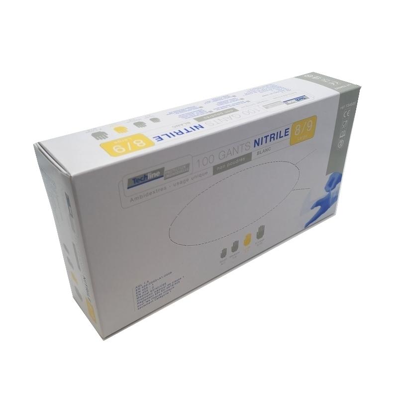 Gants nitrile blanc Techline - Sans poudre - Boite de 100