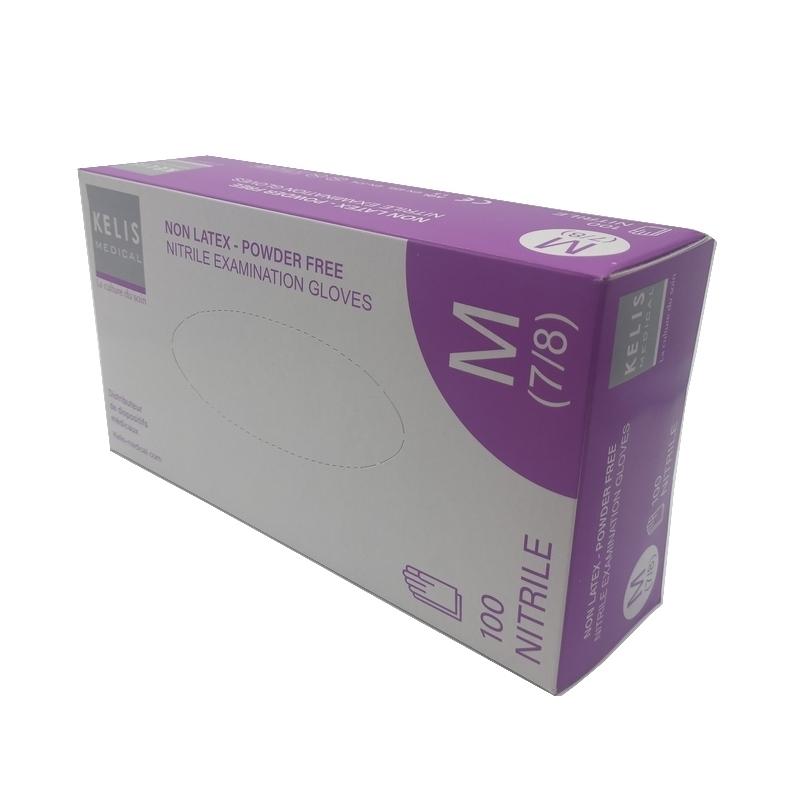 Gants d'examen en nitrile Gants nitrile sans poudre Kelis - Tailles S / M / L - Boite de 100
