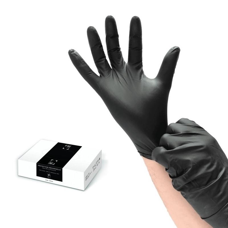 Gants d'examen en nitrile  Gants nitrile noir Techline - Sans poudre - Boite de 100