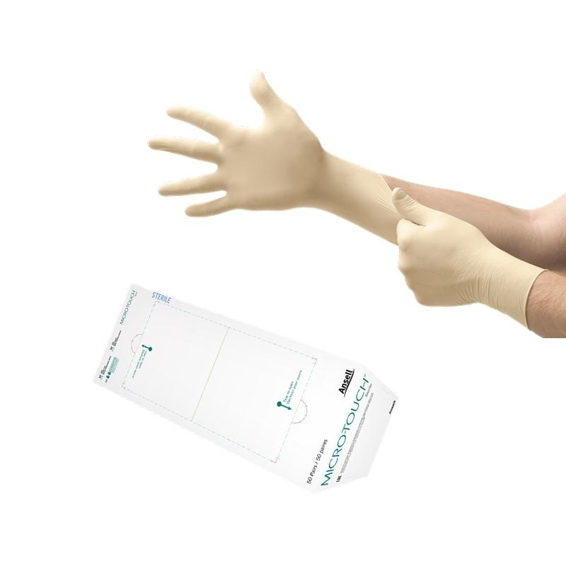 Gants d'examen stériles Gants stériles latex sans poudre - Micro Touch Ansell - Boite de 50 paires