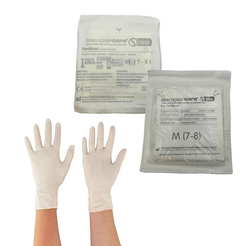 Gants d'examen stériles Gants stériles latex poudrés - Sempercare - Paire unitaire