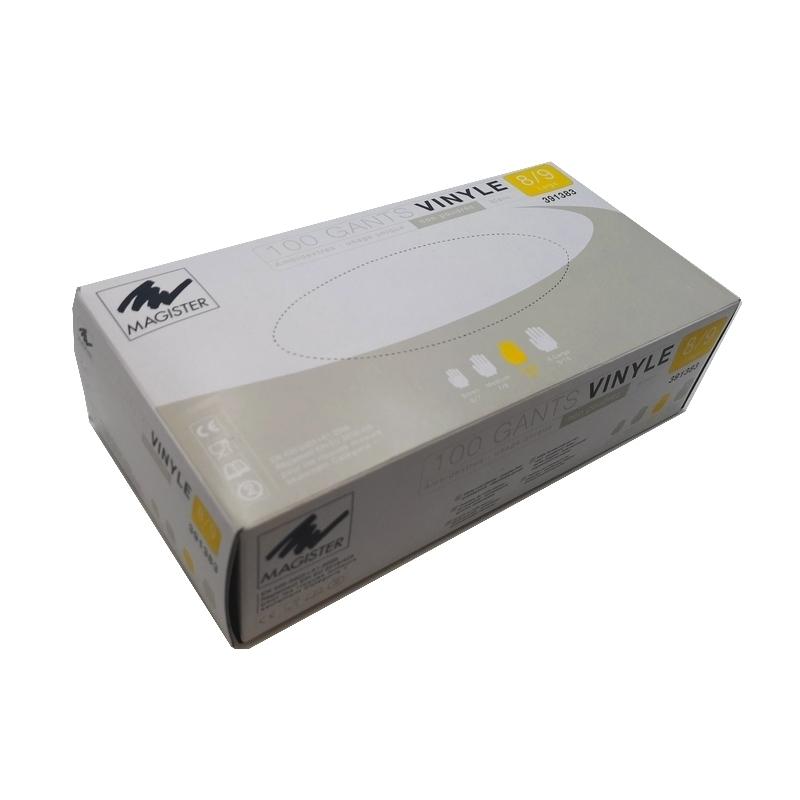 Gants vinyle sans poudre Gants vinyle sans poudre - Magister - Taille L - Boite de 100