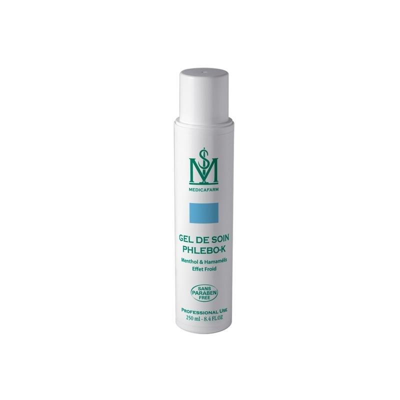 Gel et lait de massage Gel de soin Phlebo-K Menthol - Médicafarm - Flacon 250 mL