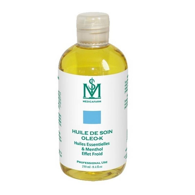 Huile de massage Huile de soin Oleo K - Effet froid - Medicafarm - Flacon de 250 ml