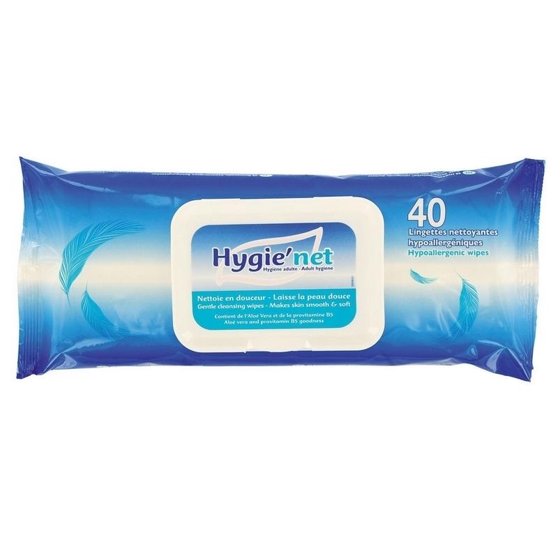 Lingettes  Lingettes corporelles Hygie'Net - Hypoallergénique - Paquet de 40