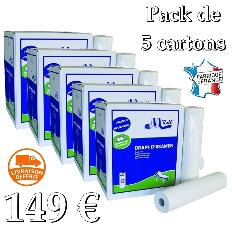 Draps d'examen en pack éco Draps d'examen lisses - 135 formats 35 x 50 - Global Hygiène J214 - Pack de 5 cartons de 12 rouleaux